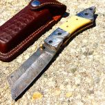 "TheBoneEdge 7.5"" Damascus Blade Folding Knife Horn Handle Handmade with Sheath"