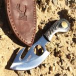 "7"" Skinner Knife Black Color Handle With Sheath"