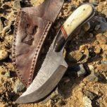 "8.5"" The Bone Edge Full Tang Damascus knife with Bone Handle"