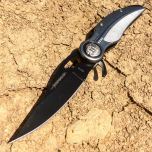 "8"" Gray And Black  Spring Assisted Knife With Belt Clip"