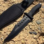 "10.5"" Black Hunting Knife Rubber Handle with Sheath"