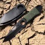 "7"" Full Tang Hunting Knife Black Stainless Steel Sheath"