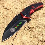 """8"""" Red Z-Killer Spring Assisted Knife All Black with Belt Clip"""