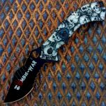 "8.5"" Zombie War Colletion Grey Folding Spring Assisted Knife with Belt Clip"