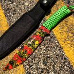 "12"" Zomb-War Hunting Knife Green Cord Wrapped Handle With Yellow Zombie Design"