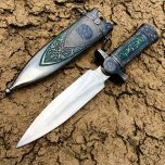"11"" Silver Color Mongolian Dagger with Sheath"