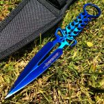"8"" Defender Blue Skull Throwing Knife with Sheath"