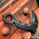 """8"""" Defender Xtreme Black Spring Assisted Knife w/ Belt Clip"""