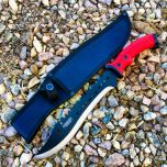 """16"""" Defender Xtreme Full Tang Hunting Knife with Red/Black Rubber Handle"""