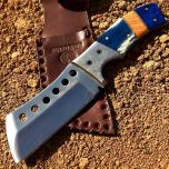 "9"" Huntdown Full Tang Hunting Knife with Damascus Handle and Leather Sheath"