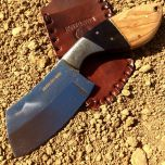 "9"" Huntdown Full Tang Hunting Knife with Damascus Engraved Handle and Leather Sheath"