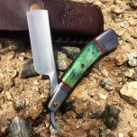 "9.5"" The Bone Edge Hand Made Green Razor Blade with Leather Sheath"