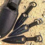 Zomb War 3 Pc Throwing Knife set Black color W/ sheath
