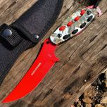 """Hunt-Down 8"""" Red Hunting Knife With Woodland Camo Handle and Black Red paracord"""