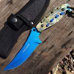 "Hunt-Down 8"" Blue Hunting Knife With Woodland Camo Handle & Nylon Sheath"