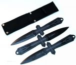 """3 Pc. Set Of 10"""" Black & Gray Throwing Knives With Sheath"""