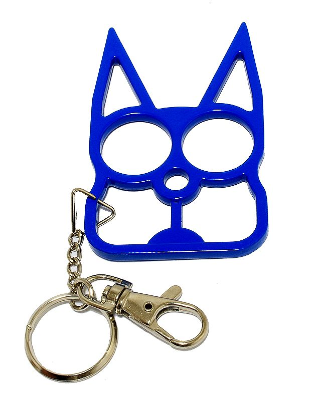 Cat Self Defense Keychain Blue