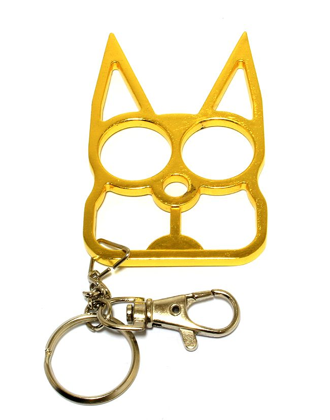 Cat Self Defense Keychain Gold
