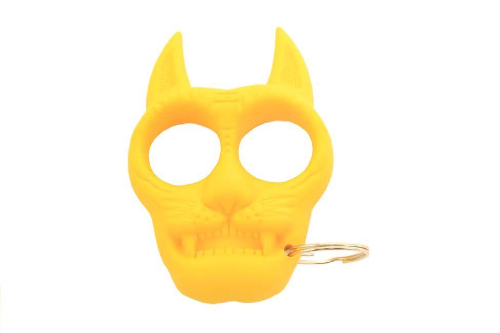 Cat Self Defense Plastic Keychain Yellow