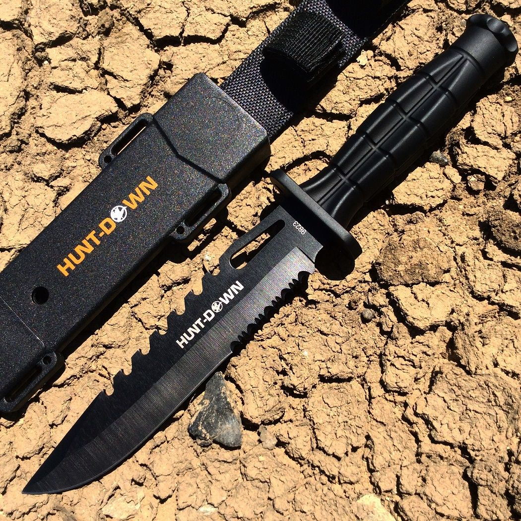 Hunt Down 13 Drop Point Hunting Knife With Plastic Sheath Grenade Design Handle