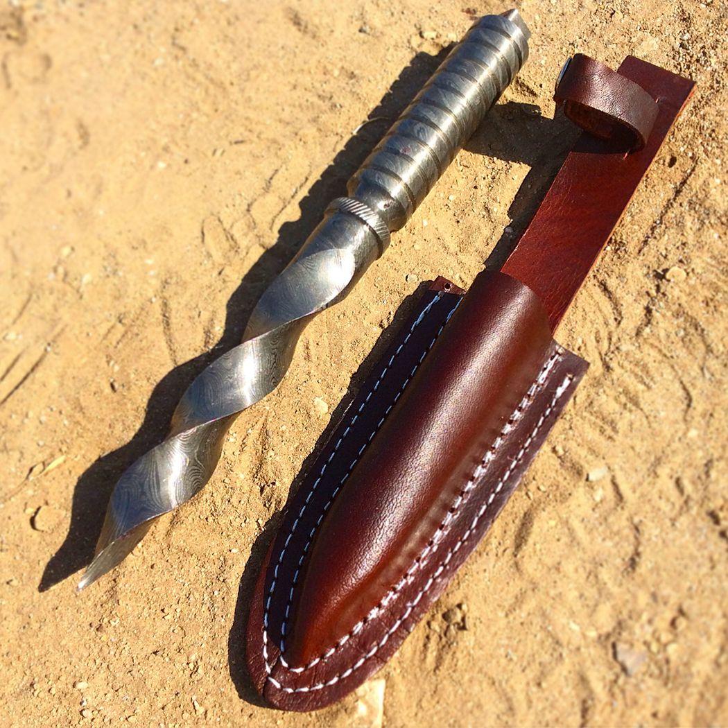 Theboneedge 10 Hand Forged Damascus Full Tang Kris Blade Hunting Knife Leather Sheath