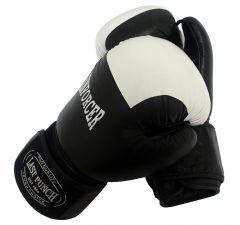 12oz Black/White Real Leather Boxing Gloves