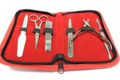 6pc Manicure Set with Pouch Stainless Steel Red Case