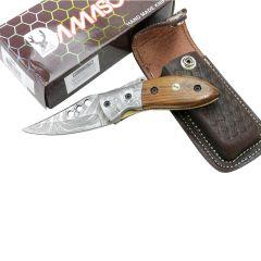 "TheBoneEdge 7"" Damascus Blade & Wood Handle Folding Knives Handmade with Sheath"