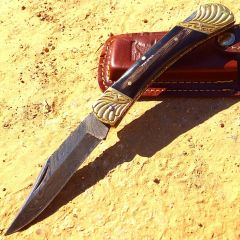 "8.5"" Damascus Blade Folding Knife Black Color Wood Handle hand made with Sheath"