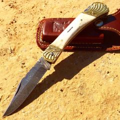 "8.5"" Damascus Blade Folding Knife Pearl Style Handle hand made with Sheath"