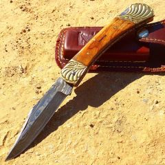 "TheBoneEdge 8"" Damascus Blade Folding Knife Wood Gold trim hand made with Sheath"
