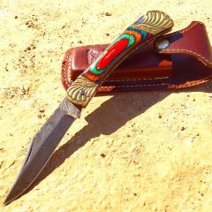"8.5"" Damascus Blade Folding Knife Mlti Color Wood Handle hand made with Sheath"