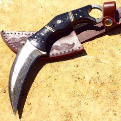 "TheBoneEdge 8"" Damascus Steel Horn Handle Hunting Knife With Leather Sheath"