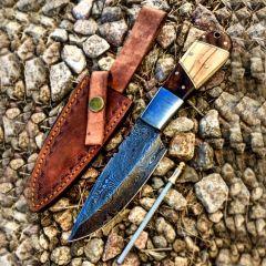 "TheBoneEdge 9"" Wood Handle Damascus Steel Hunting Knife With Leather Sheath"