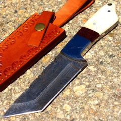 "TheBoneEdge 9"" Damascus Steel Hunting Knife Beautiful Handle With Leather Sheath"
