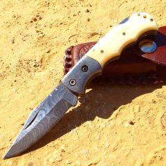 """TheBoneEdge 6.5"""" Damascus Blade Folding Knife White Handle With Leather Sheath"""