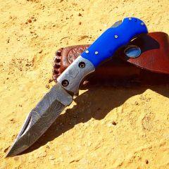 "TheBoneEdge 6.5"" Damascus Blade Folding Knife Blue Handle With Leather Sheath"
