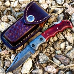 "TheBoneEdge 6.5"" Damascus Blade Folding Knife Red Handle With Leather Sheath"