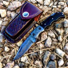 "TheBoneEdge 6.5"" Damascus Blade Folding Knife Black Handle With Leather Sheath"