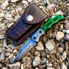 "TheBoneEdge 6.5"" Damascus Blade Folding Knife Green Handle With Leather Sheath"