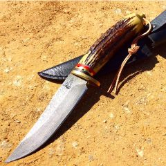 "TheBoneEdge 9"" Damascus Style Blade Hunting Knife 440 Stainless Steel"