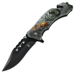 "TheBoneEdge 8"" Bear Wildlife Folding Knife Spring Assisted Staineless Steel"