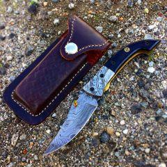 "TheBoneEdge Style Blade Damascus Steel Folding Knife 8""  with Leather Sheath"