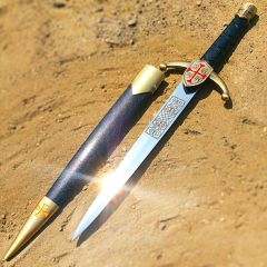 "Defender 14.5"" Crusader Dagger Gold Knight Cross Stainless Steel Collectible"