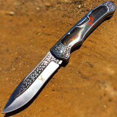 "TheBoneEdge 9"" Classic Western Folding Knife Stainless Steel Brown Pearl Handle"