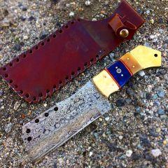 "TheBoneEdge 9.5"" Full Tang Damascus Blade Bone Handle Hunting Tactical Knife"