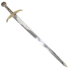"Defender 41"" Gold Cross Medieval Fantasy Collectible Sword Detailed Pommel Tusba"