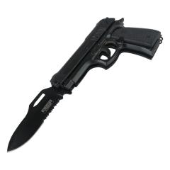 """Defender-Xtreme 8.5"""" Black Handle Spring Assisted Gun Folding Knife 3CR13 Steel"""