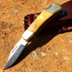 "TheBoneEdge 5"" Damascus Blade Hand Forged Hunting Folding Knife Bone Handle"