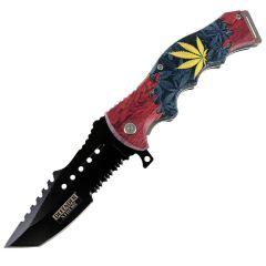 "Defender-Xtreme 8.5"" Leaf Tactical Spring Assisted Folding Knife Stainless Steel"